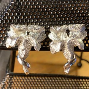 Coro vintage orchid clip-on earrings